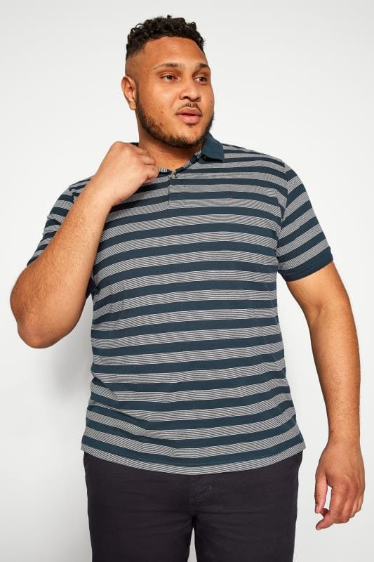 Plus Size Polo Shirts BAR HARBOUR Navy Stripe Polo Shirt