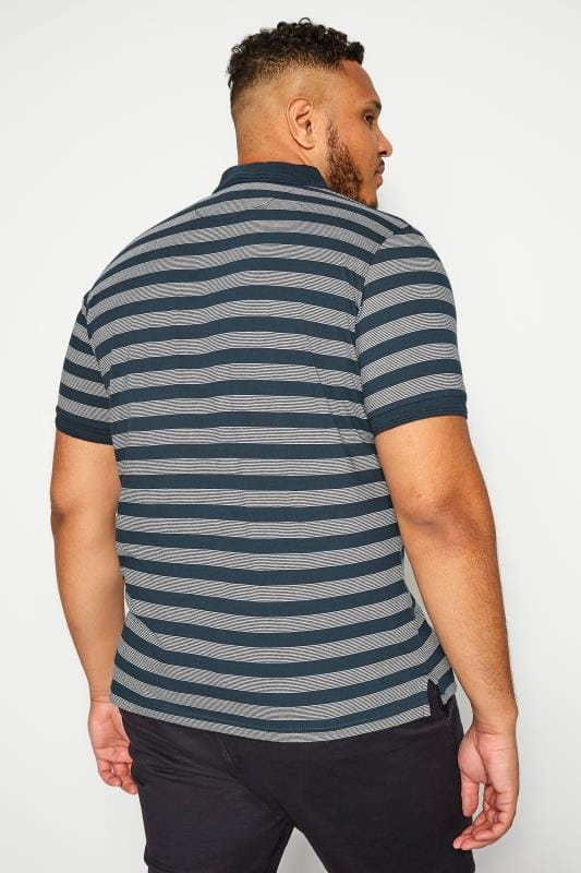 BAR HARBOUR Navy Stripe Polo Shirt