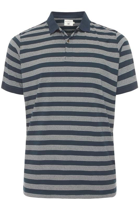 Großen Größen Polo Shirts BAR HARBOUR Navy Stripe Polo Shirt