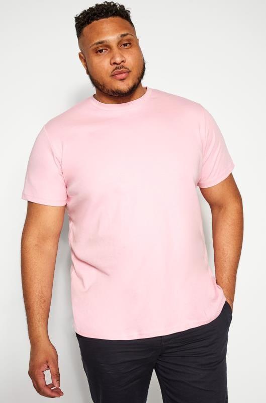 T-Shirts Grande Taille BAR HARBOUR Pink Plain Crew Neck T-Shirt
