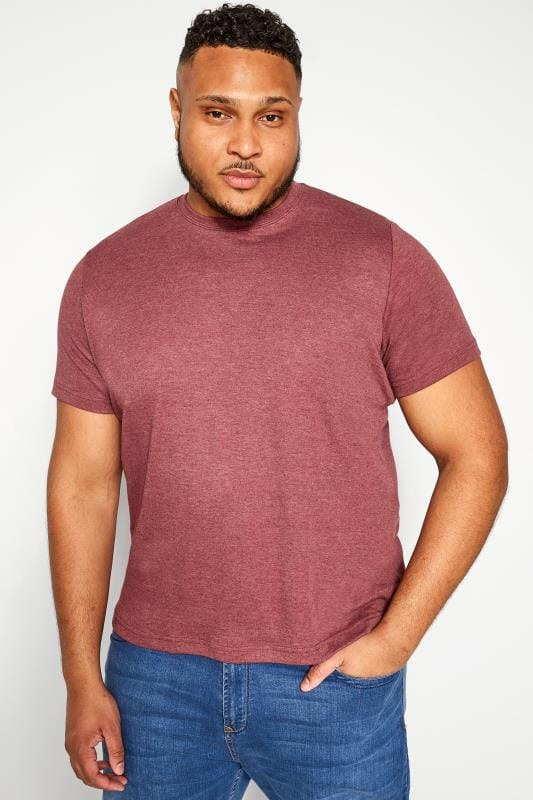 T-Shirts BAR HARBOUR Red Marl Plain Crew Neck T-Shirt