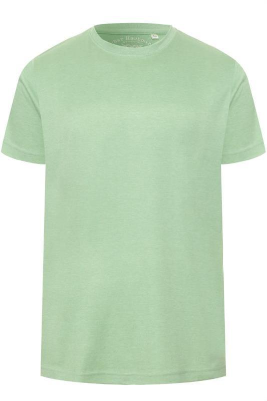 Plus Size T-Shirts BAR HARBOUR Sage Green Plain Crew Neck T-Shirt