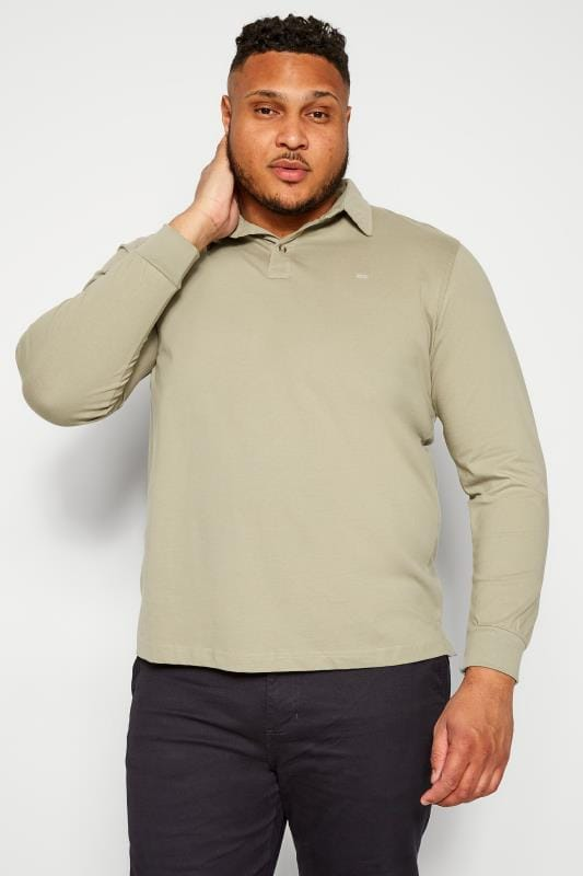 Plus Size Polo Shirts BAR HARBOUR Stone Long Sleeve Polo Shirt