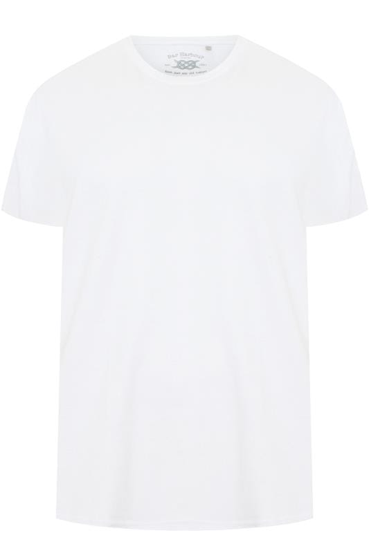 Plus Size T-Shirts BAR HARBOUR White Plain Crew Neck T-Shirt