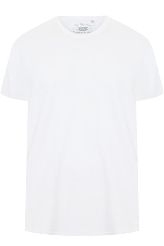 Großen Größen T-Shirts BAR HARBOUR White Plain Crew Neck T-Shirt