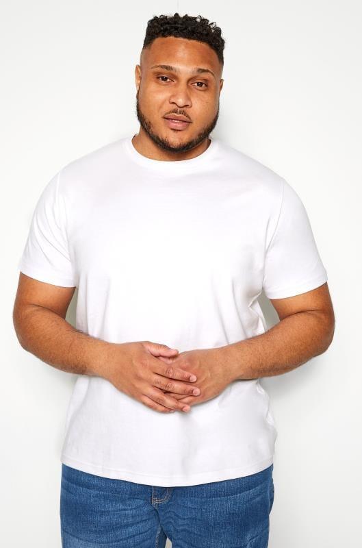 Plus-Größen T-Shirts BAR HARBOUR White Plain Crew Neck T-Shirt