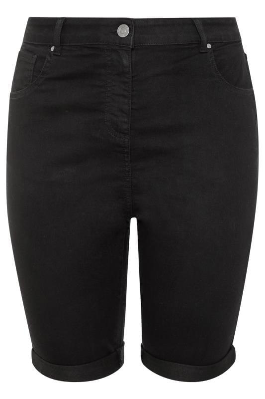 Black Basic Denim Shorts