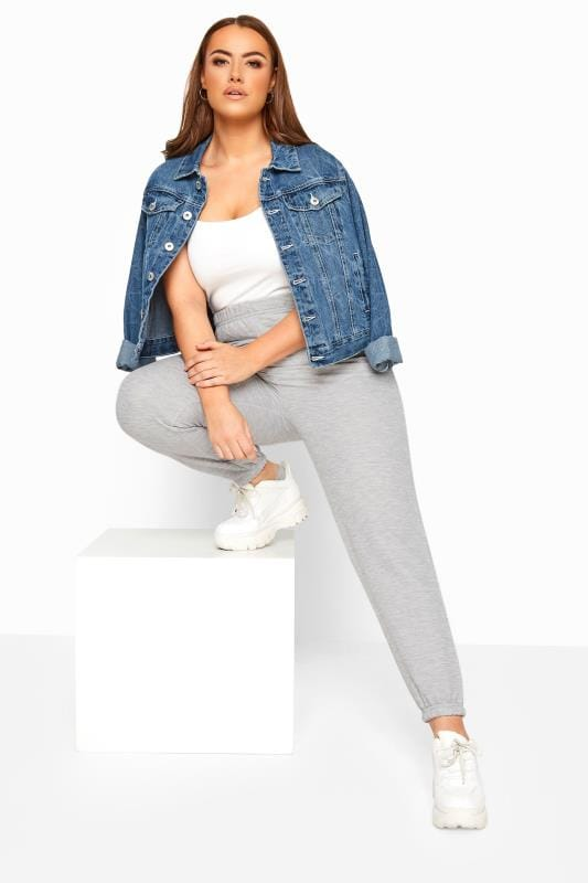 Plus Size Joggers LIMITED COLLECTION Grey Marl Basic Joggers
