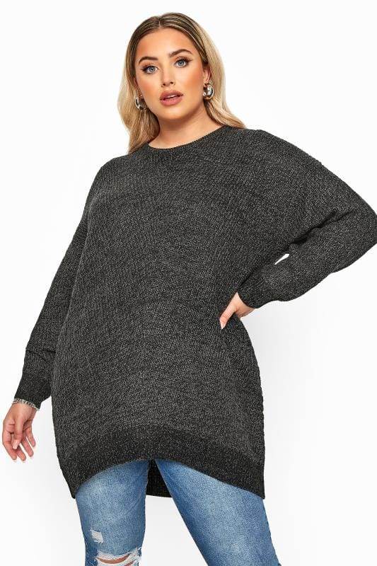 Plus Size Jumpers Charcoal Grey Marl Chunky Knitted Jumper
