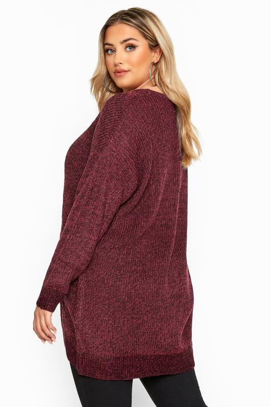Burgundy Marl Chunky Knitted Jumper