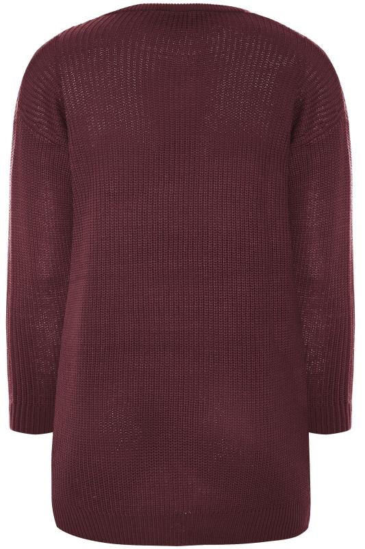 Damson Purple Chunky Knitted Jumper