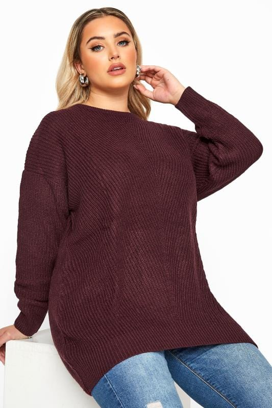 Plus Size Jumpers Damson Purple Chunky Knitted Jumper