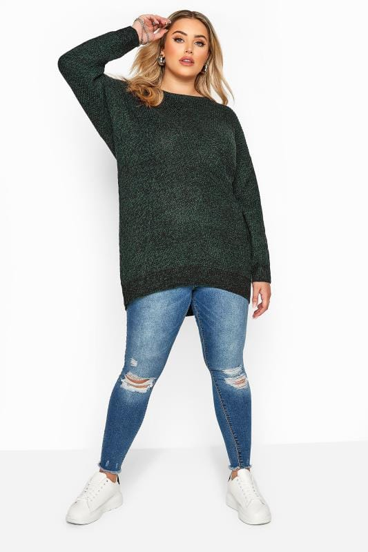 Forest Green Marl Chunky Knitted Jumper