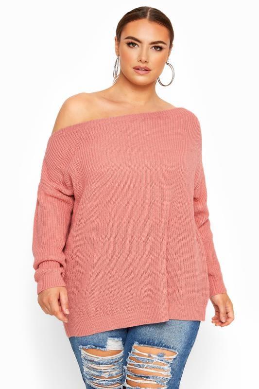 Pink Bardot Knitted Jumper