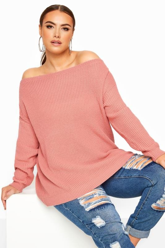 Plus Size Jumpers Pink Bardot Knitted Jumper