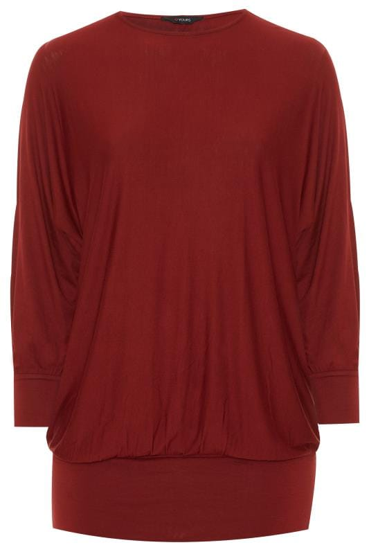 Berry Red Batwing Bubble Hem Top