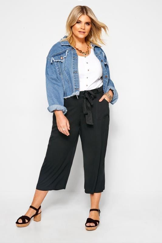 Plus Size Cropped Trousers Black Belted Cropped Trousers