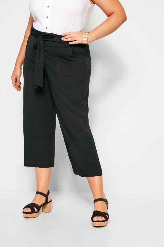 Cropped Trousers Black Belted Cropped Trousers