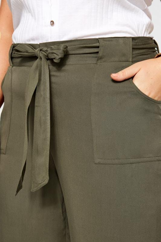 Khaki Green Belted Cropped Trousers