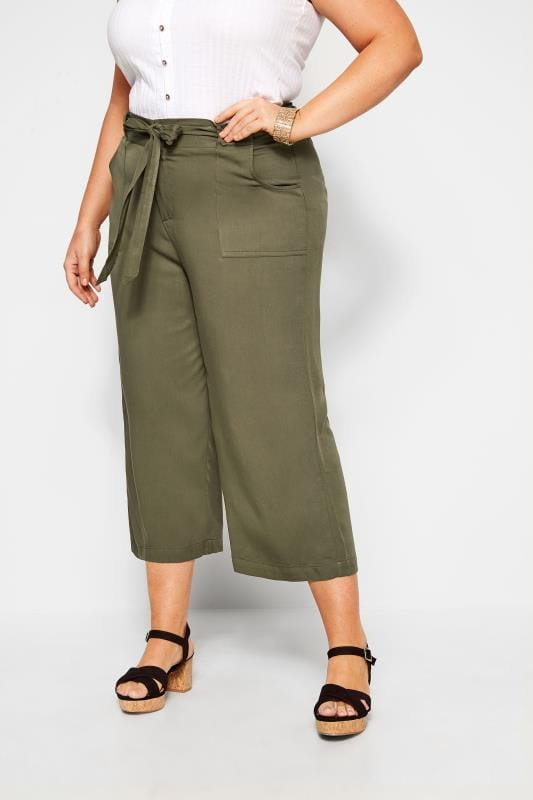 Plus Size Cropped Trousers Khaki Green Belted Cropped Trousers