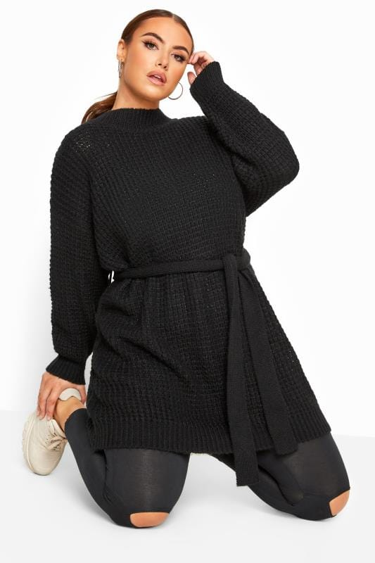 Plus Size Jumpers Black Belted Knitted Tunic Jumper
