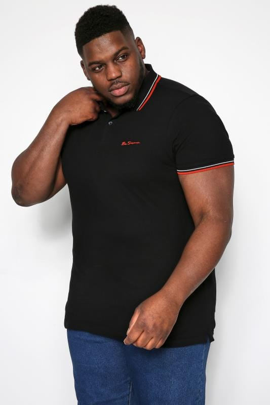 Plus Size Ben Sherman Polo Shirts BEN SHERMAN Black Signature Polo Shirt