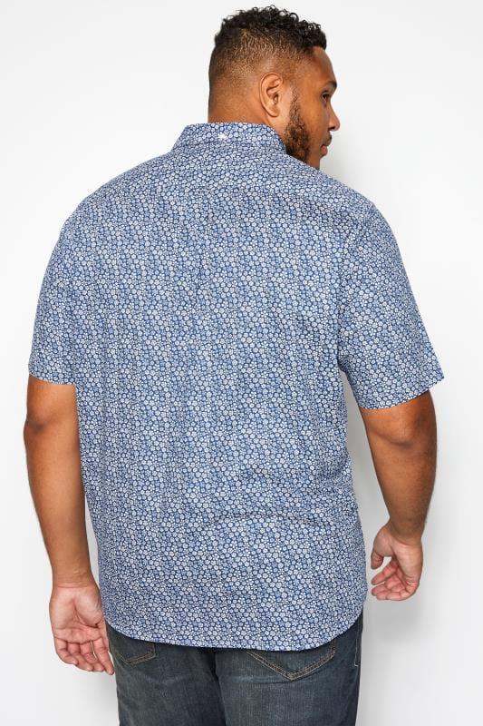 BEN SHERMAN Blue Short Sleeved Floral Shirt