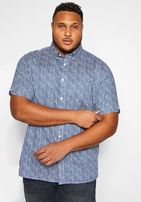 Casual Shirts BEN SHERMAN Blue Short Sleeved Floral Shirt 201434