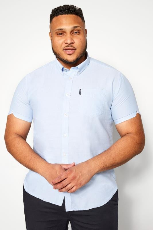 Plus Size Smart Shirts BEN SHERMAN Blue Signature Oxford Short Sleeve Shirt