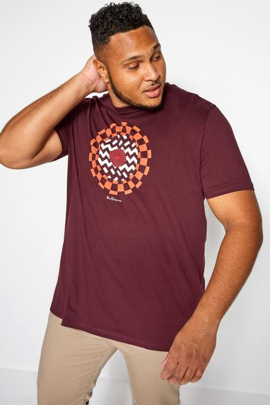 Plus Size T-Shirts BEN SHERMAN Burgundy Optical Art T-Shirt
