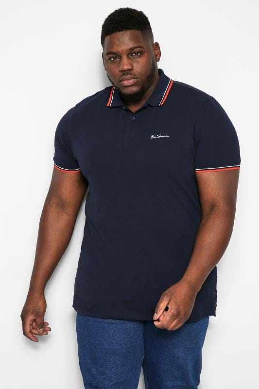 Plus Size Ben Sherman Polo Shirts BEN SHERMAN Dark Navy Signature Polo Shirt