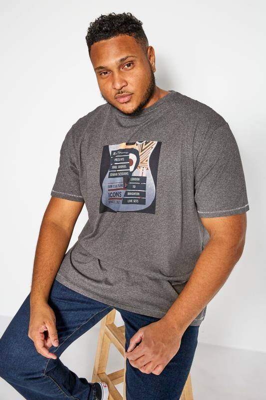 T-Shirts Tallas Grandes BEN SHERMAN Grey Guitar T-Shirt