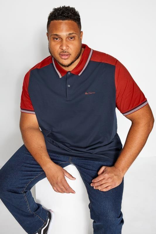 Polo Shirts dla puszystych BEN SHERMAN Navy Block Polo Shirt
