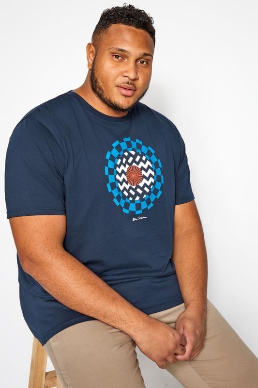 Plus Size T-Shirts BEN SHERMAN Navy Optical Art T-Shirt
