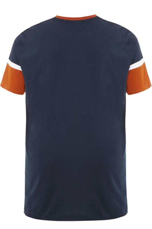 BEN SHERMAN Navy & Orange Colour Block T-Shirt