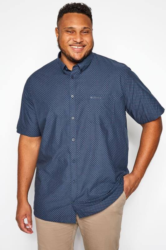 Plus Size Casual Shirts BEN SHERMAN Navy Patterned Button Down Shirt