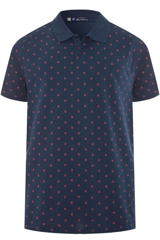 Polo Shirts BEN SHERMAN Navy Patterned Polo Shirt 201439