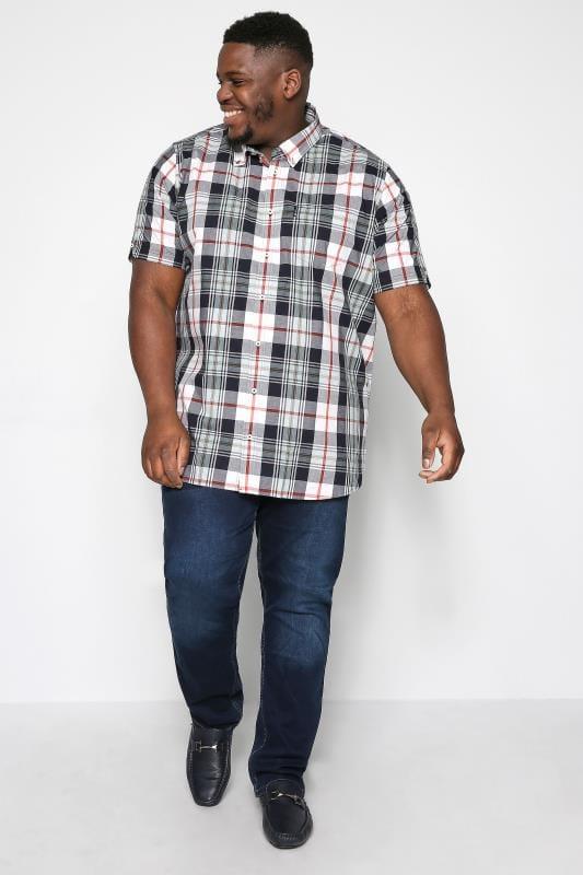BEN SHERMAN Navy & Red Check Shirt