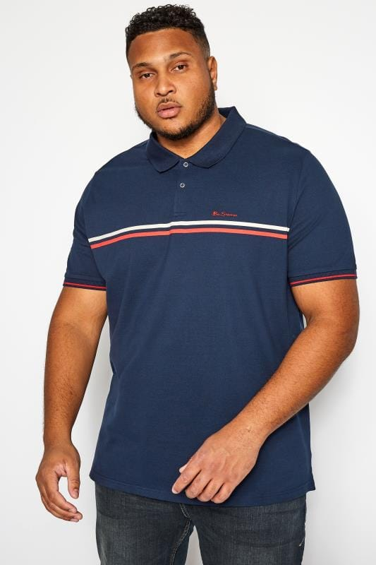 Plus Size Polo Shirts BEN SHERMAN Navy Retro Polo Shirt