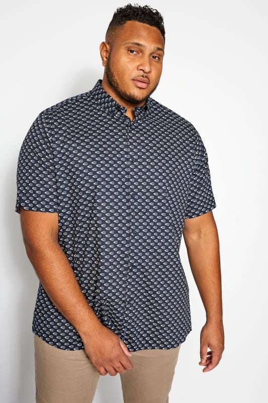 Plus Size Casual Shirts BEN SHERMAN Navy Short Sleeved Chequerboard Shirt