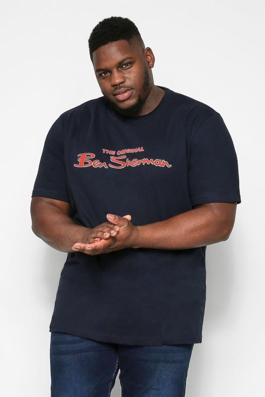 Plus Size Ben Sherman T-Shirts BEN SHERMAN Navy Signature Logo T-Shirt