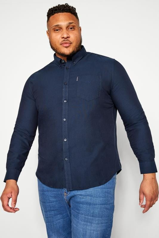 Plus Size Smart Shirts BEN SHERMAN Navy Signature Oxford Shirt