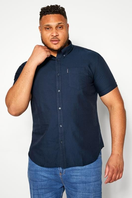 Plus Size Smart Shirts BEN SHERMAN Navy Signature Oxford Short Sleeve Shirt