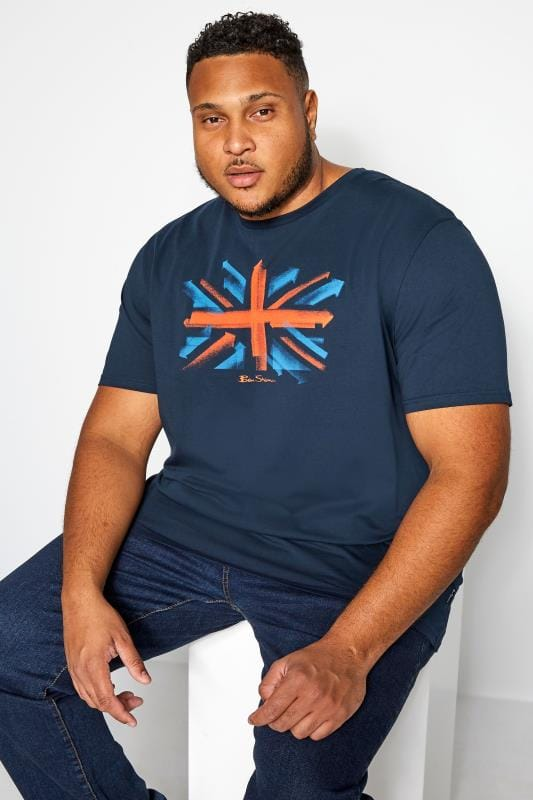 T-Shirts Grande Taille BEN SHERMAN Navy Spray Arrows Flag T-Shirt