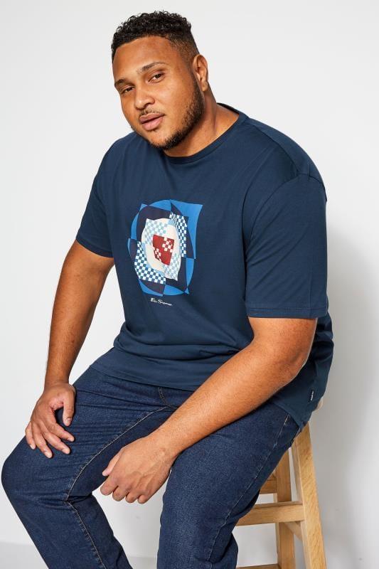 Plus Size T-Shirts BEN SHERMAN Navy Square Target T-Shirt