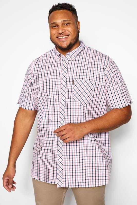 Plus Size Smart Shirts BEN SHERMAN Pink House Check Shirt