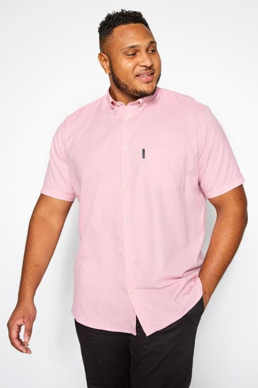 Gloves Tallas Grandes BEN SHERMAN Pink Short Sleeved Oxford Shirt