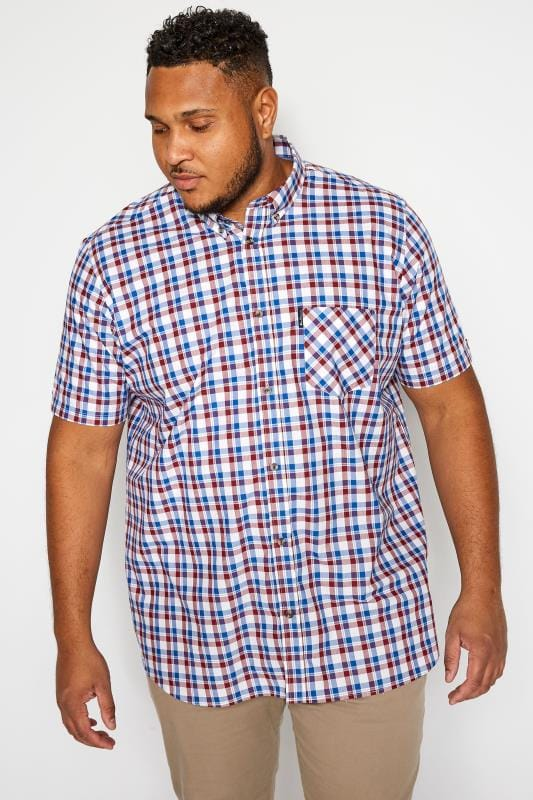 Plus Size Casual / Every Day BEN SHERMAN Red & Blue Short Sleeved Check Oxford Shirt