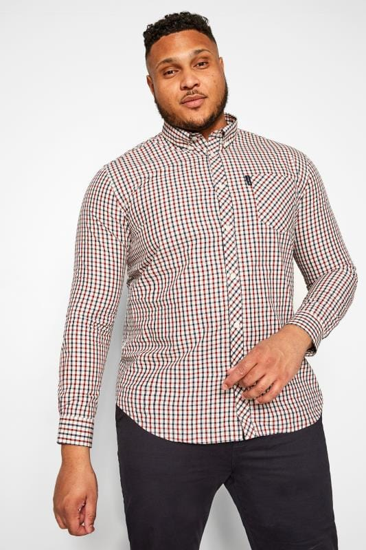 Smart Shirts dla puszystych BEN SHERMAN Red Check Signature Oxford Shirt