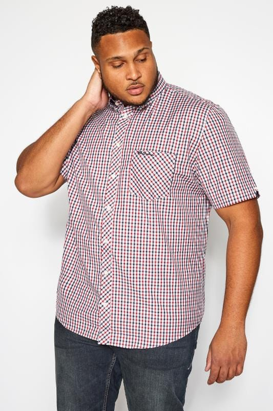 Plus Size Smart Shirts BEN SHERMAN Red Checked Button Down Shirt